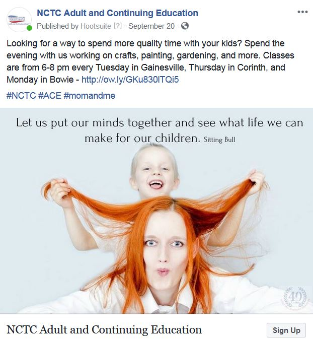 NCTC social media post